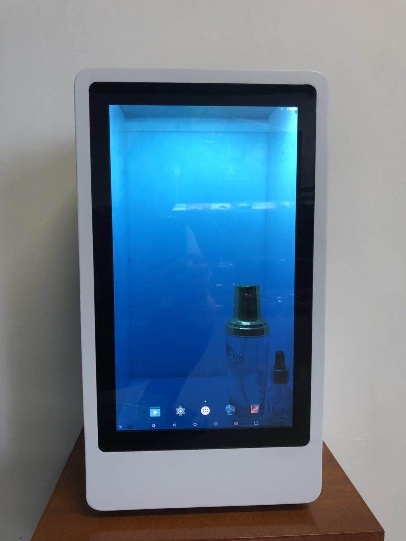 东莞惠华15.6寸触摸透明液晶展示柜、橱窗展示柜